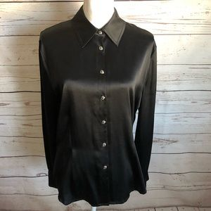 St. John black silk fitted stretchy blouse sz 12
